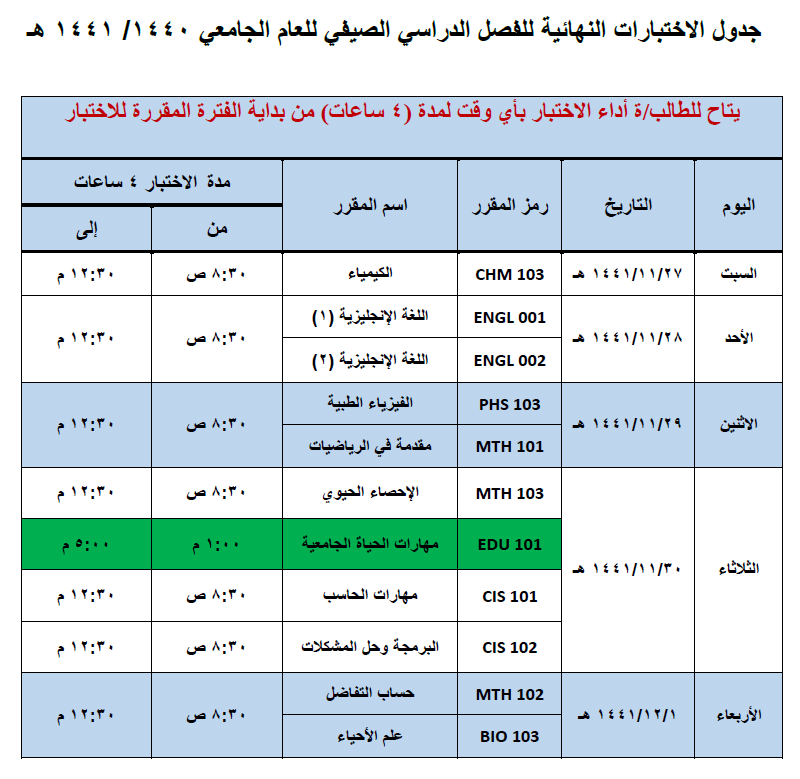 Schedule of final exams for the summer semester of the academic year 1440/1441 AH